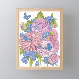 Dahlias and Forget Me Nots Framed Mini Art Print