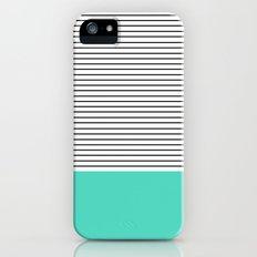 MINIMAL Teal Blue Stripes Slim Case iPhone (5, 5s)