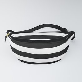 Large Black and White Horizontal Cabana Stripe Fanny Pack