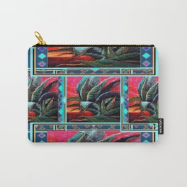 WESTERN STYLE DESERT AGAVE PAINTING BLUE PATTERN Carry-All Pouch