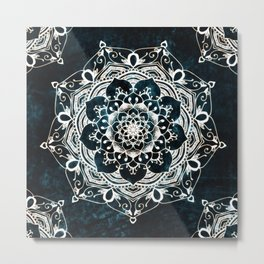 Glowing Spirit Mandala Blue White Metal Print