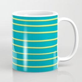 Yellow and Aqua Minimal Stripe Pattern 2021 Color Of The Year Illuminating & Peacock Blue Coffee Mug
