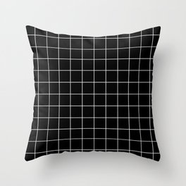 Grid Simple Line Black Minimalist Throw Pillow
