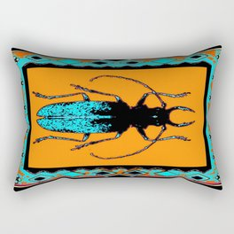 Black Turquoise Stag horn Beetle Western Art Abstract Rectangular Pillow