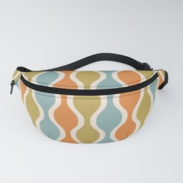 Classic Retro Ogee Pattern 842 Orange Blue and Olive Fanny Pack