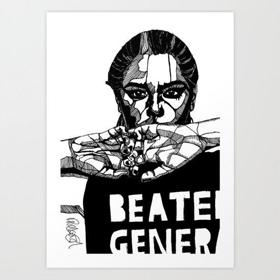 B&W Fashion Illustration - Beaten Generation Art Print
