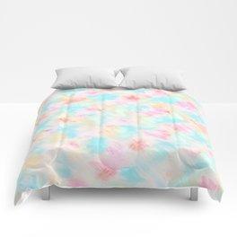 Modern Girly Pink Yellow Blue Paint Daub Art Comforters