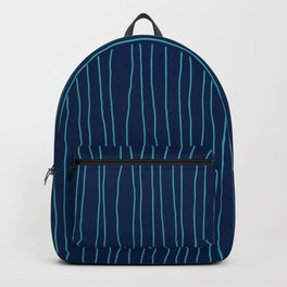 Hand Drawn Lines Vertical Blue Backpack