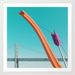 Minimal Bow and Arrow with Bay Bridge Art Print