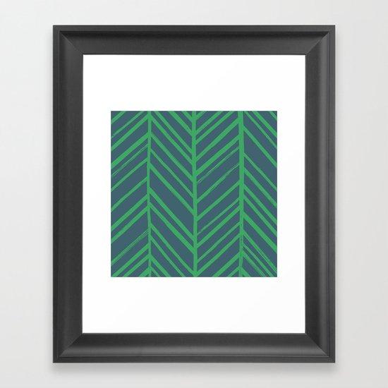 Painted Herringbone - in Emerald Framed Art Print