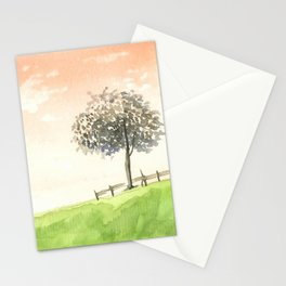 Water painting of peaceful glass field with glowing sunset Stationery Cards
