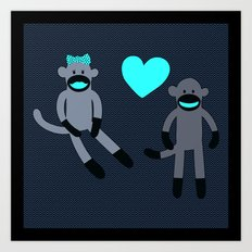 Sock Monkey Love Art Print
