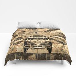 vintage voyager world map design 7 Comforters