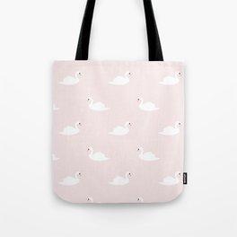 Swan pattern on pink 033 Tote Bag