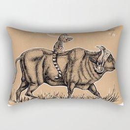 Teatime with waterbuffalo and genet Rectangular Pillow