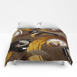 Big Dark Brass Yellow and Brown Rings and Circles Comforters