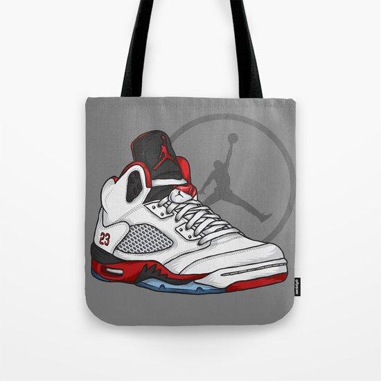 Jordan 5 (Fire Reds) Tote Bag