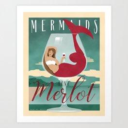 Mermaids Love Merlot Art Print