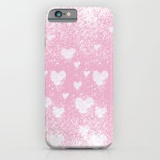 snowing hearts pink iPhone 6s Slim Case