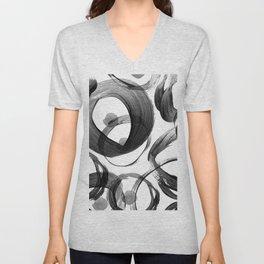 Modern abstract black white hand painted brushstrokes Unisex V-Neck