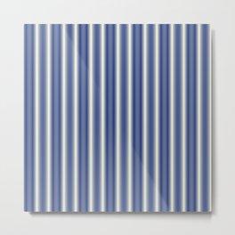 Blue and Cream Stripes Metal Print