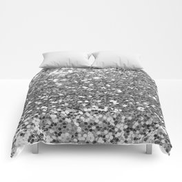 Chic faux silver abstract sequins glitter modern pattern Comforters