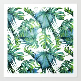 Blue Jungle Leaves, Monstera, Palm #society6 Art Print