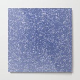 White Quartz Crystal Points on Blue Metal Print