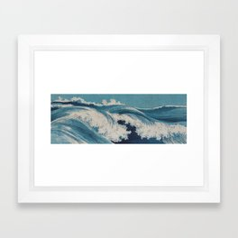 Hatozu Waves Japanese Vintage Print Framed Art Print