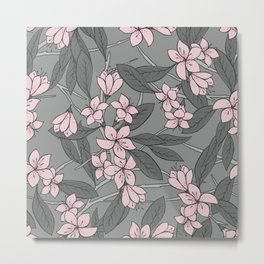 Sakura Branch Pattern - Ballet Slipper + Neutral Grey Metal Print