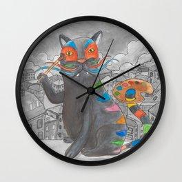 Artist Cat Wall Clock