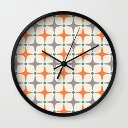 Mid Century Modern Star Pattern Grey and Orange Wall Clock