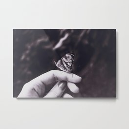 Butterfly - Black and White Metal Print