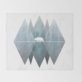 Misty Forest Mountain Bear Throw Blanket