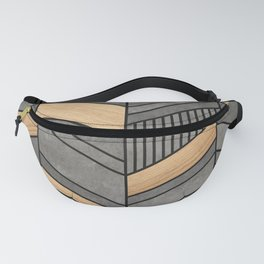 Abstract Chevron Pattern - Concrete and Wood Fanny Pack