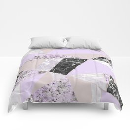 Geometrical black white lavender abstract marble Comforters