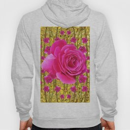 "FUCHSIA PINK ""ROSES & THORNS""  GOLD ART  ROSE  PATTERNS Hoody"
