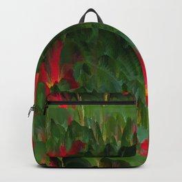 Green leaves, pink flowers ... Backpack