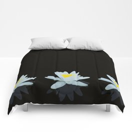 Waterlily Flowers On Black Background #decor #society6 #buyart Comforters
