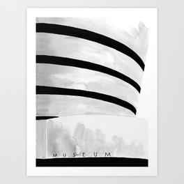 Architecture sketch of the Guggenheim Museum New York Art Print