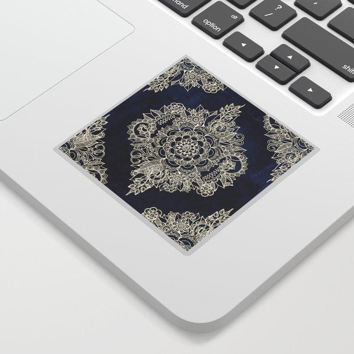 Cream Floral Moroccan Pattern on Deep Indigo Ink Sticker