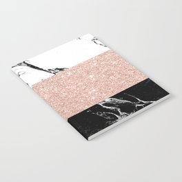 Modern black white marble rose gold color block stripes pattern Notebook