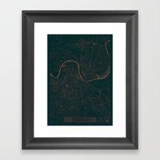 Nashville Map Red Framed Art Print