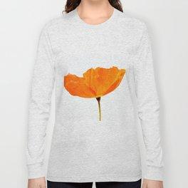 One And Only - Orange Poppy White Background #decor #society6#buyart Long Sleeve T-shirt