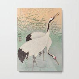 Two cranes in the lake - Japanese vintage woodblock print Metal Print