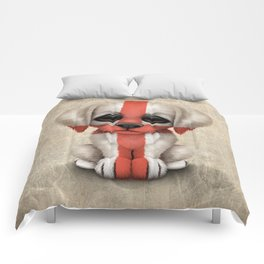 Cute Puppy Dog with flag of England Comforters
