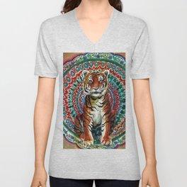 Tiger Watercolor Yoga Mandala Unisex V-Neck