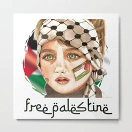 Free Palestine in watercolor Metal Print