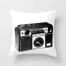 Retro Camera Sketch B/W Throw Pillow