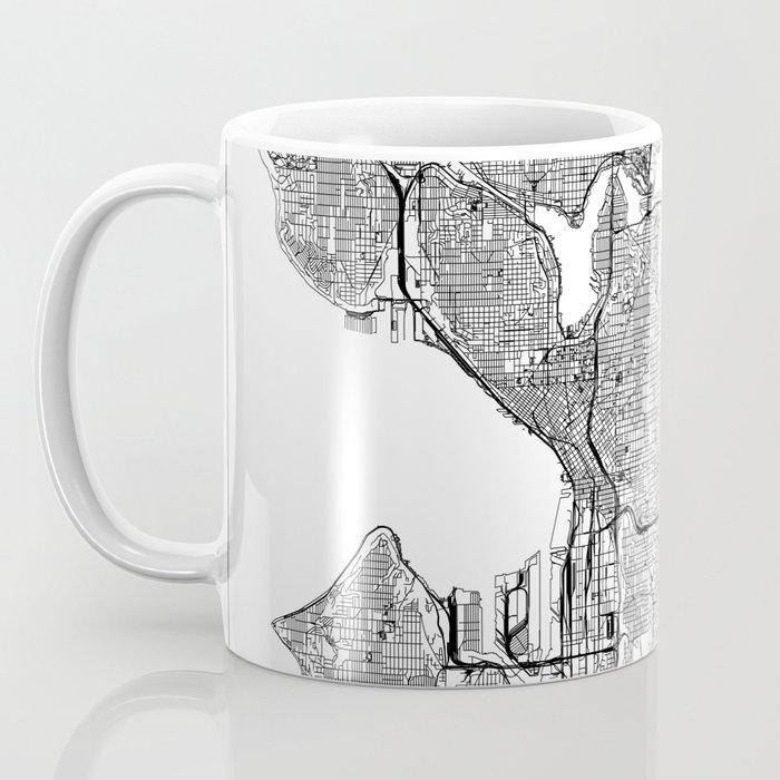 Seattle White Map Coffee Mug